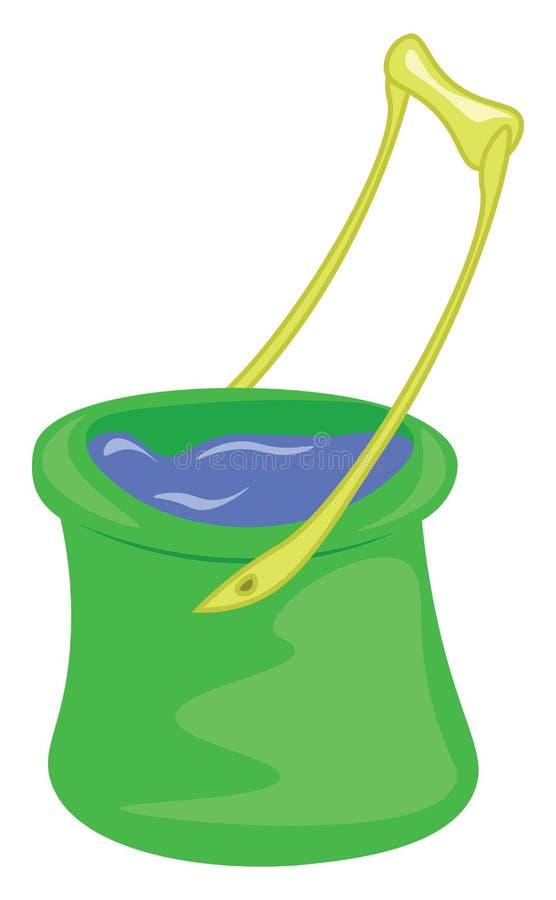 Um balde verde com uma alça amarela é preenchido com desenho de cor do vetor de água limpa ou ilustração ilustração royalty free