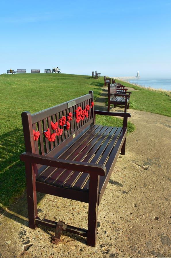 Um banco de madeira decorado com as papoilas do dia da relembrança com um seascape no fundo imagens de stock royalty free