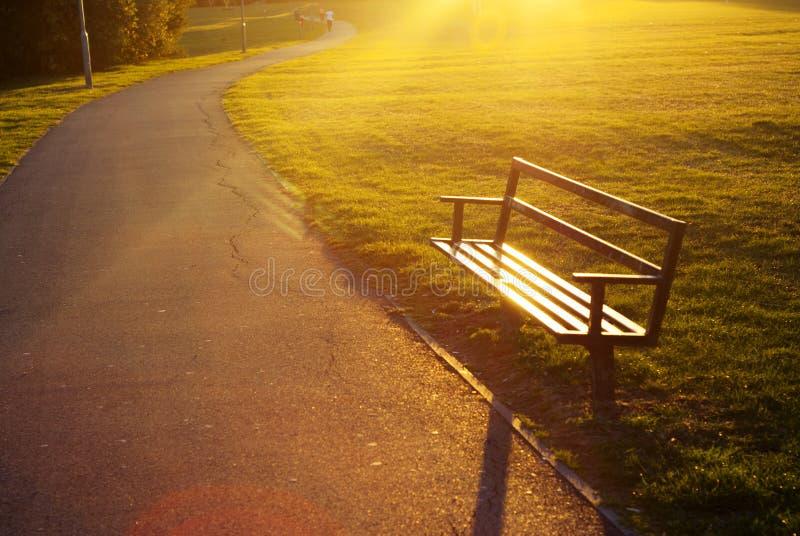 Um banco de parque vazio no sol para baixo Copie o espaço fotos de stock