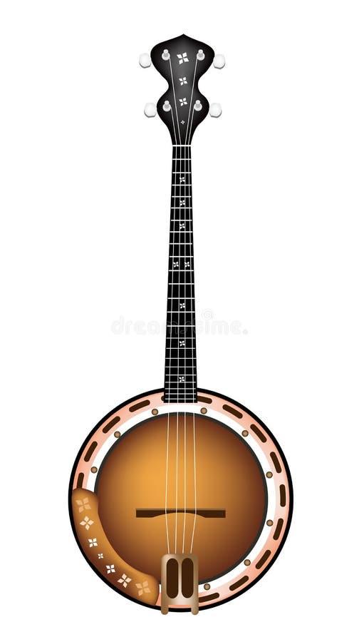 Um banjo bonito de Brown no fundo branco ilustração do vetor