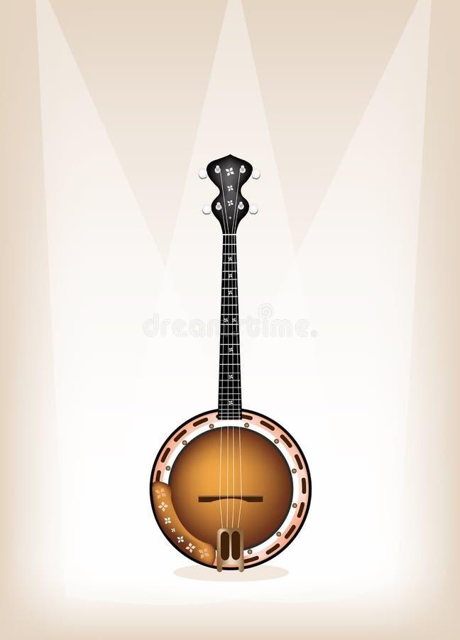 Um banjo bonito no fundo de fase de Brown ilustração royalty free