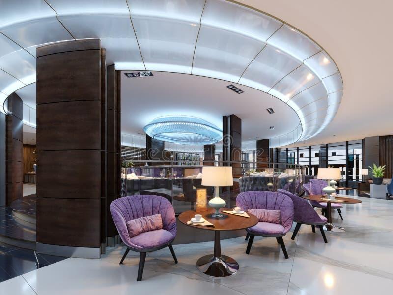Um bar acolhedor na entrada com as cadeiras estofadas confortáveis e em uma tabela com uma lâmpada ilustração do vetor