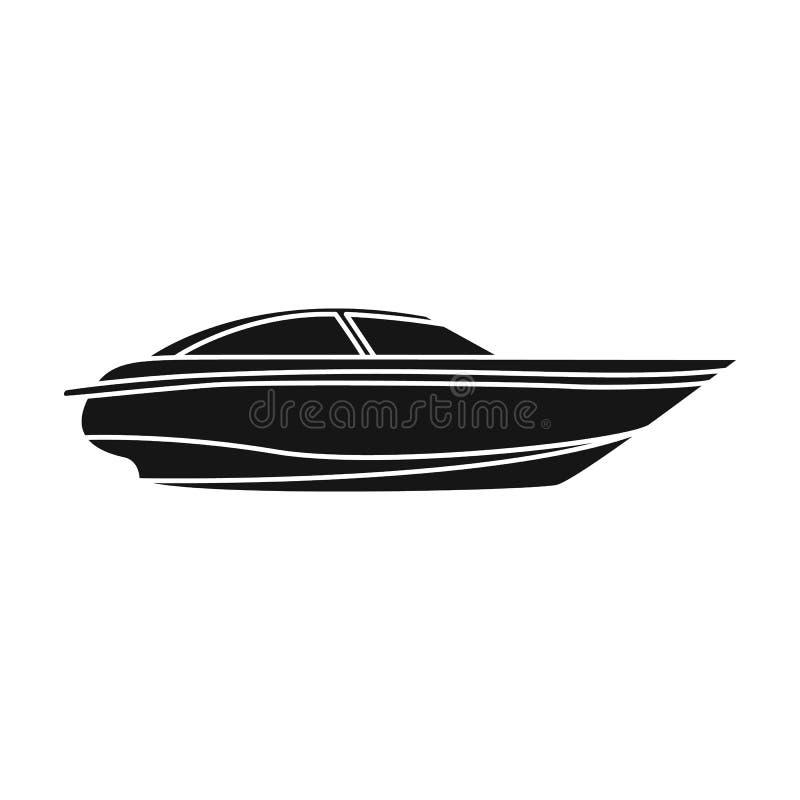 Um barco branco pequeno com um motor Barco para a velocidade e a competição O navio e a água transportam o único ícone no estilo  ilustração do vetor