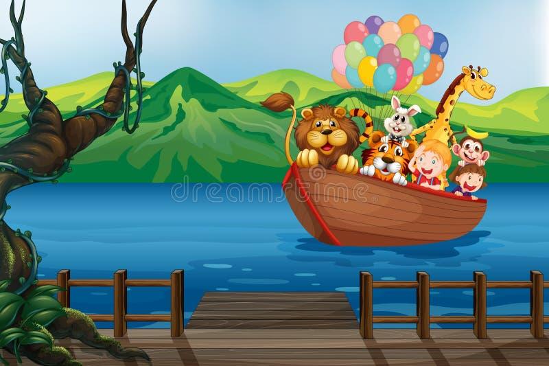 Um barco com animais ilustração do vetor