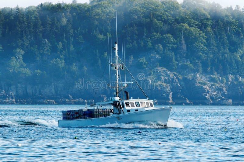 Um barco da lagosta dirige para fora para ajustar suas armadilhas fotografia de stock