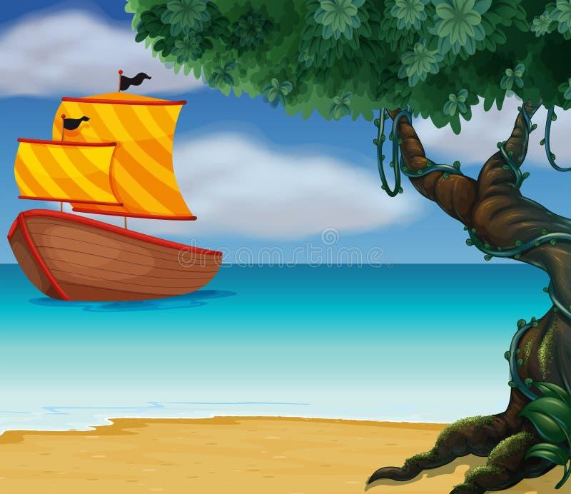 Um barco de madeira perto da linha costeira ilustração stock