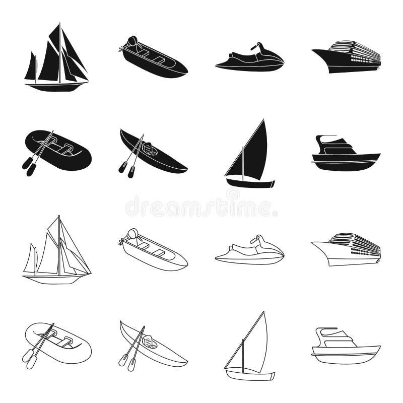 Um barco de pesca de borracha, um caiaque com remos, uma escuna da pesca, um iate do motor Navios e coleção ajustada do transport ilustração do vetor