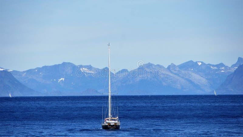 Um barco do ` s do sailsman em Lofoten fotos de stock royalty free