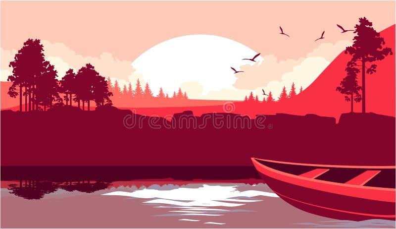 Um barco navega no rio ilustração do vetor