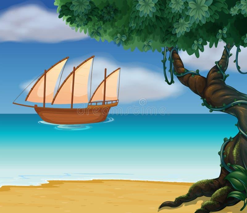 Um barco perto da praia ilustração royalty free