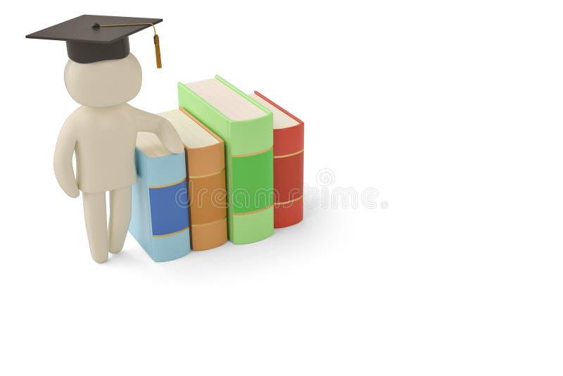 Um barrete no caráter do homem e na ilustração dos livros 3d ilustração stock
