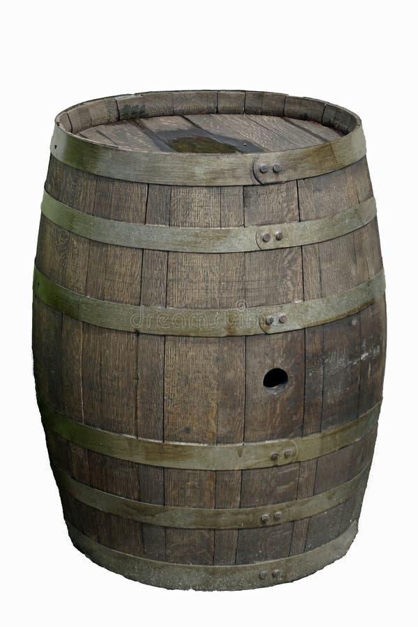 Um barril de carvalho para armazenagem e envelhecimento de vinho numa adega grega Imagem vertical recortar imagem Fios e tiras fotografia de stock royalty free