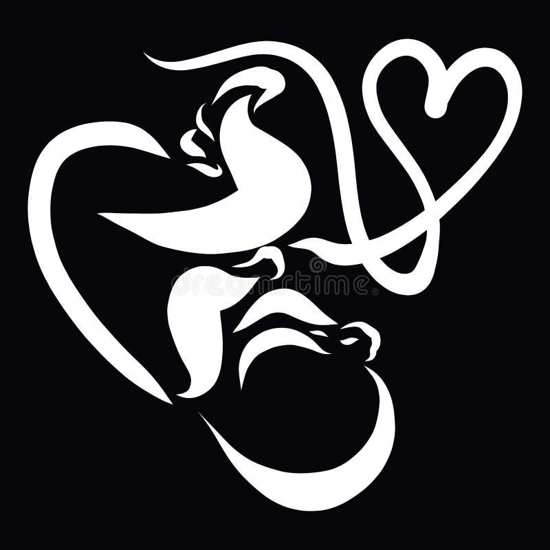 Um bebê com um cabo de cordão umbilical que crie uma forma do coração, antes ilustração do vetor