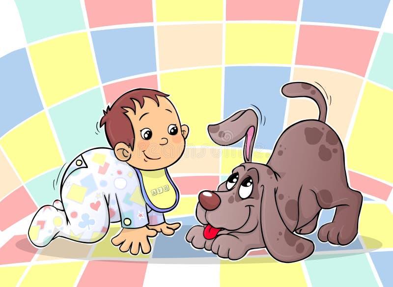 Um Bebê E Um Filhote De Cachorro Foto de Stock