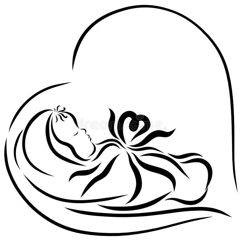 Um bebê recentemente carregado, coração ilustração royalty free