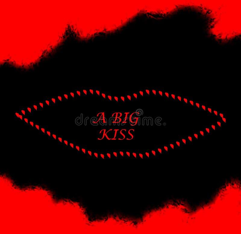 Um beijo grande: Cartão do St Valentine's ilustração do vetor