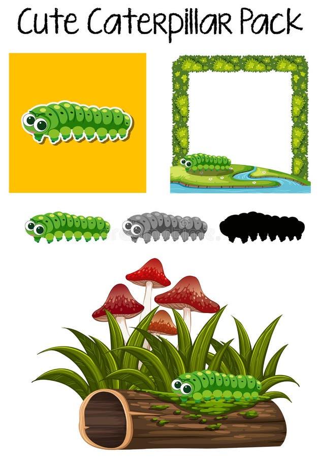 Um bloco da lagarta bonito ilustração do vetor