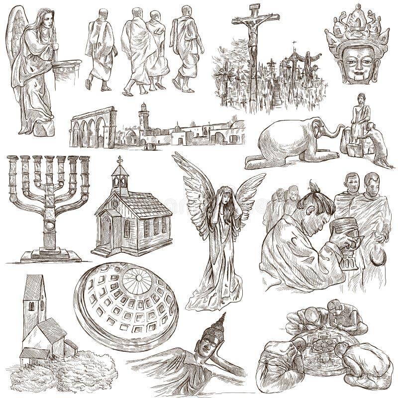 Um bloco tirado mão, coleção - grupo de lugares da adoração ilustração royalty free