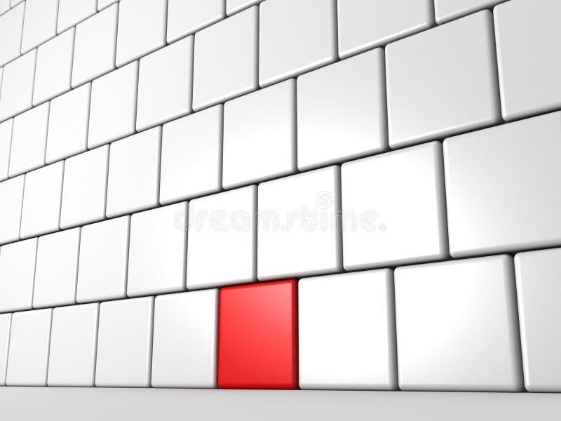 Um bloco vermelho da individualidade da parede de tijolo branca ilustração do vetor