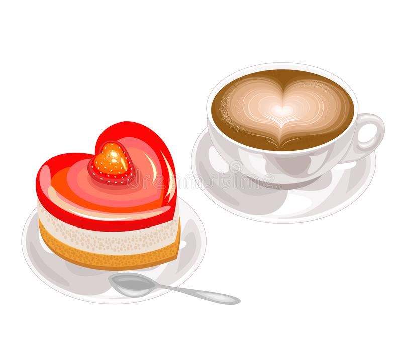 Um bolo coração-dado forma delicioso e uma xícara de café com espuma na forma de um coração O dia de Valentim para amantes Vetor ilustração stock
