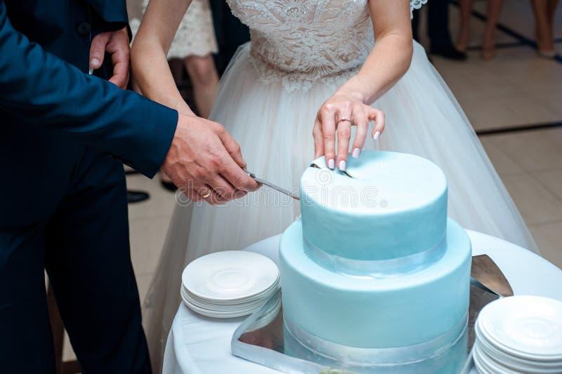Um bolo de casamento azul bonito está sendo cortado pelos recém-casados imagens de stock royalty free