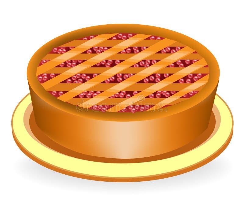 Um bolo delicioso do feriado Enchimento com as bagas das cerejas e dos arandos Um prato agradável, nutritivo e saudável Apropriad ilustração stock