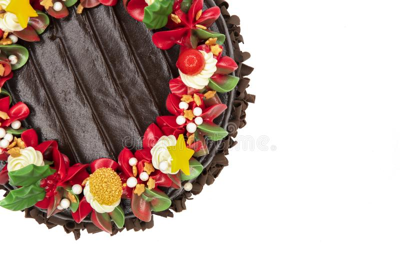 Um bolo do Natal, vista superior foto de stock