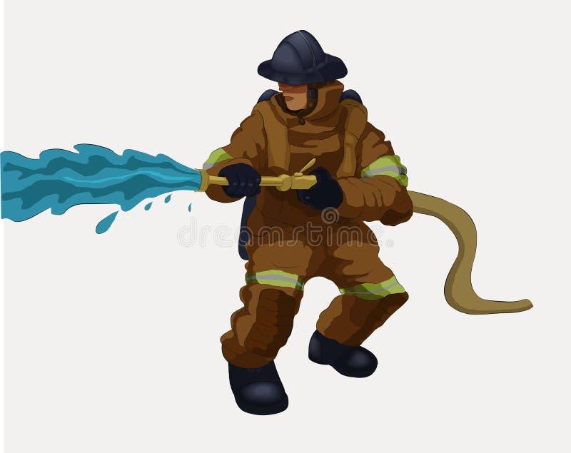 Um bombeiro com uma mangueira da água ilustração royalty free
