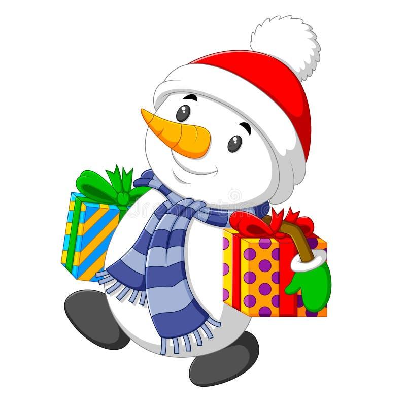 Um boneco de neve amável está levando o presente grande da caixa dois para o Natal ilustração do vetor