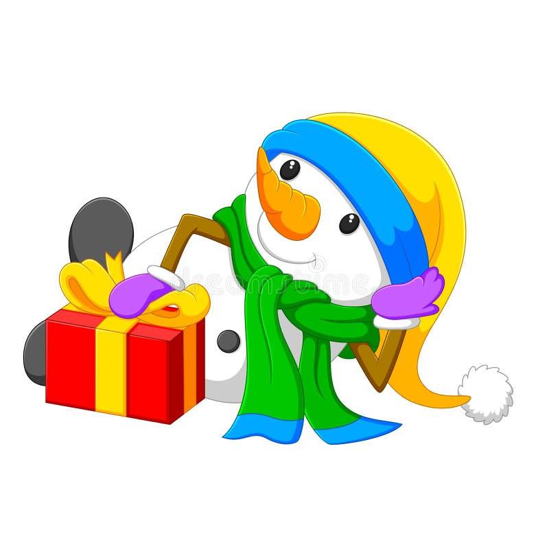Um boneco de neve grande é encontra-se perto da caixa grande vermelha ilustração stock