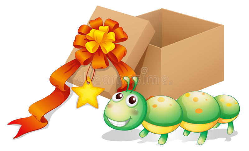 Um brinquedo da lagarta ao lado de uma caixa ilustração stock