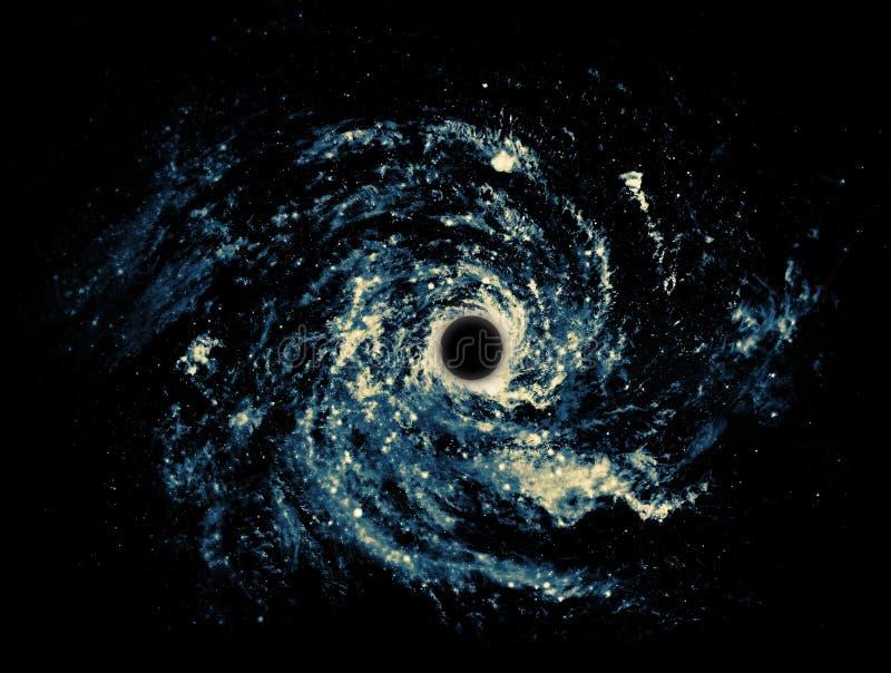 Um buraco negro é uma região de spacetime que exibe tais efeitos gravitacionais fortes que nada pode escapar do interior dela ilustração do vetor