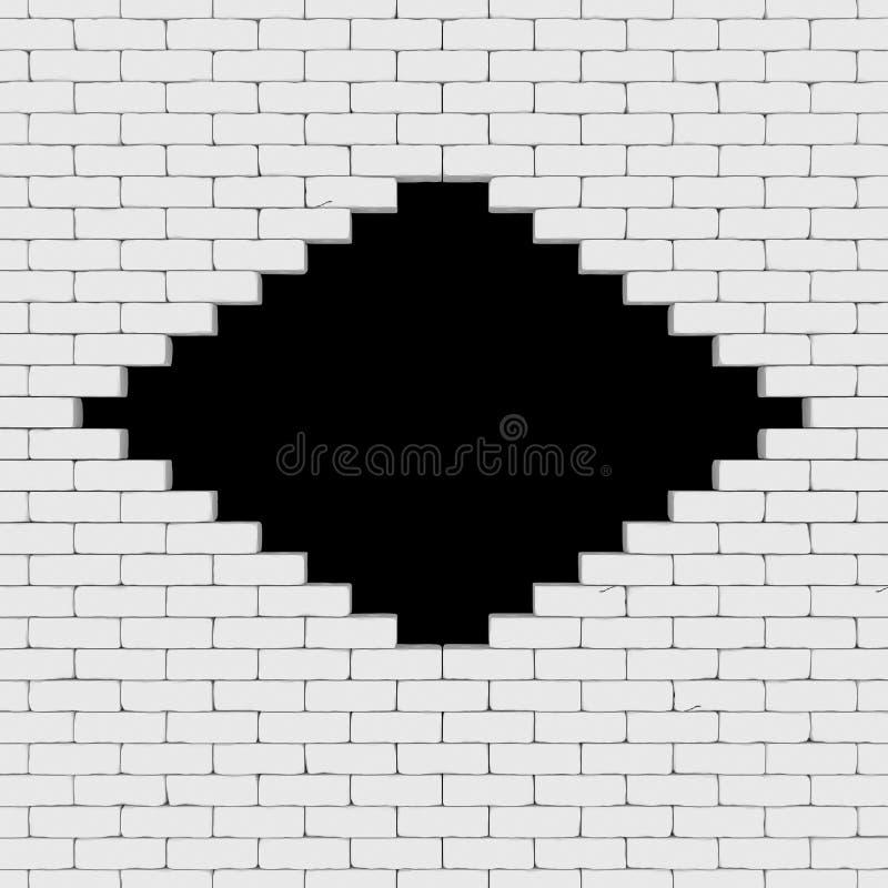 Um buraco negro em uma parede de tijolo 3D rende ilustração do vetor