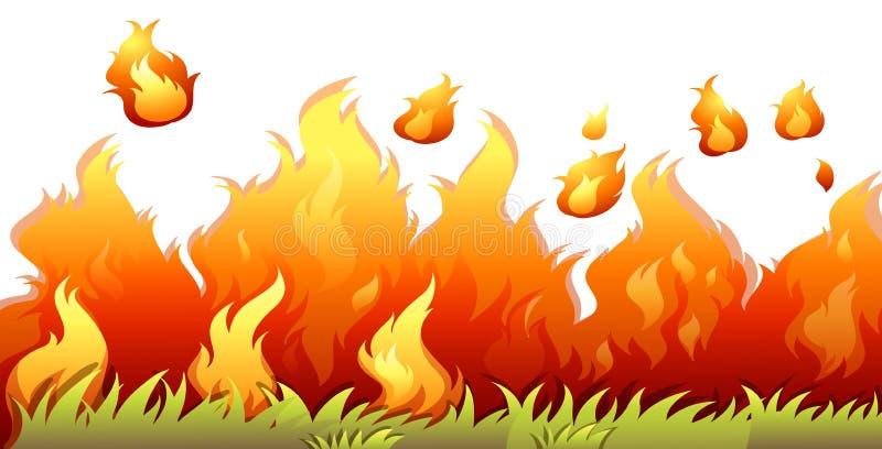 Um bushfire isolado no fundo branco ilustração stock
