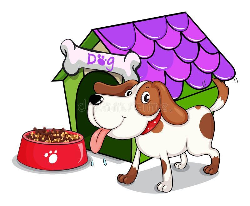 Um cão ao lado da bacia com alimentos ilustração royalty free