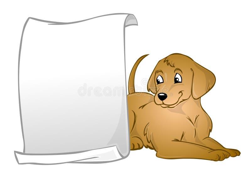 Um cão com uma bandeira ilustração do vetor