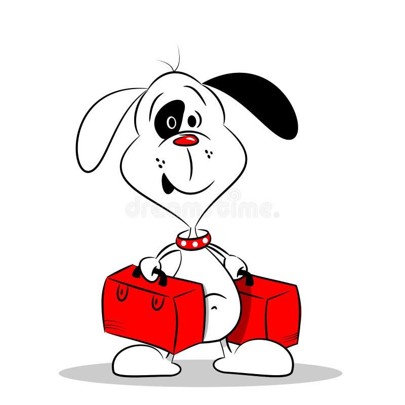 Um cão dos desenhos animados com malas de viagem ilustração do vetor