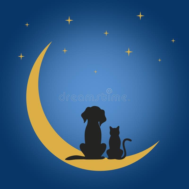 Um cão e um gato sentam-se na lua sob as estrelas na noite ilustração stock