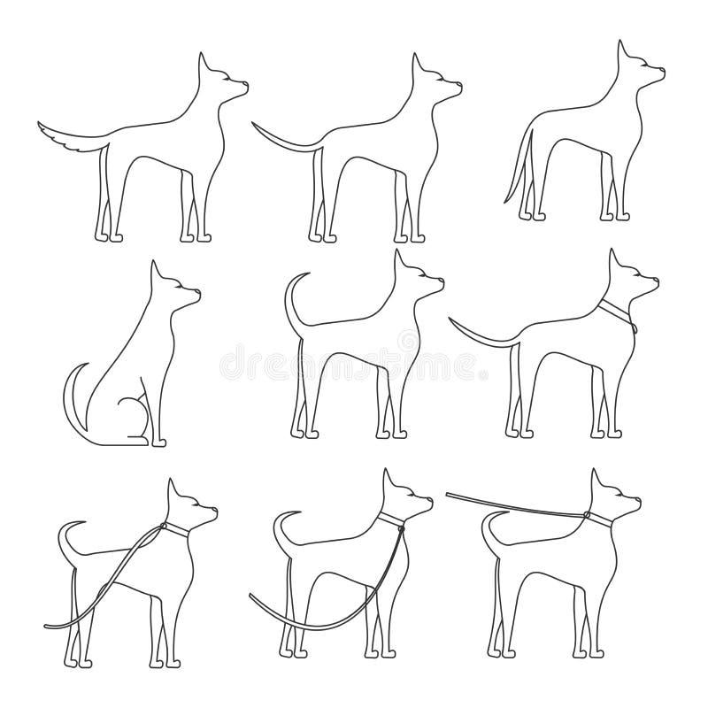 Um cão lateralmente no esboço completo do crescimento em poses diferentes ilustração stock