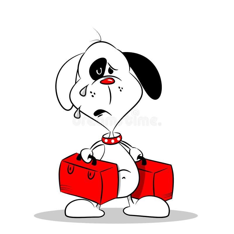 Um cão saudoso dos desenhos animados com bagagem ilustração royalty free