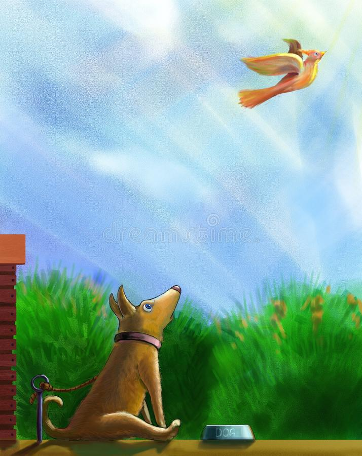 Um cão tethered, sentando-se antes de uma bacia de alimento ilustração do vetor
