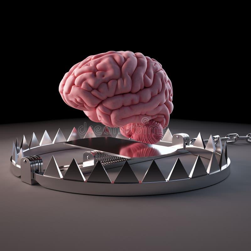 Um cérebro prendido ilustração stock