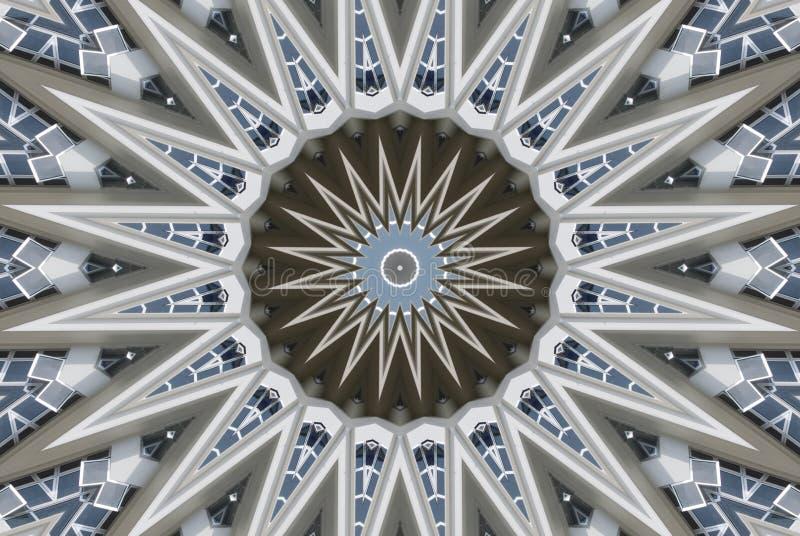 Um círculo concentrado gerado por computador com pontos afiados ilustração do vetor