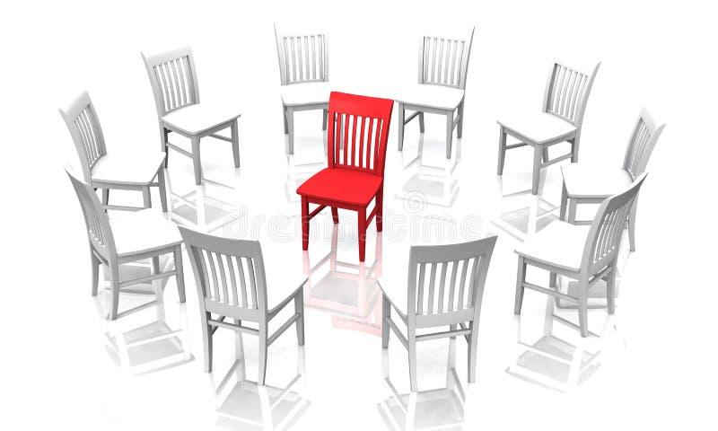 Círculo das cadeiras com vermelho um no meio ilustração stock