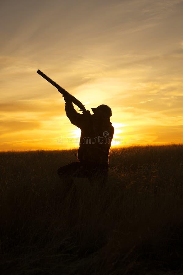 Espingarda do tiro do caçador no por do sol fotos de stock royalty free
