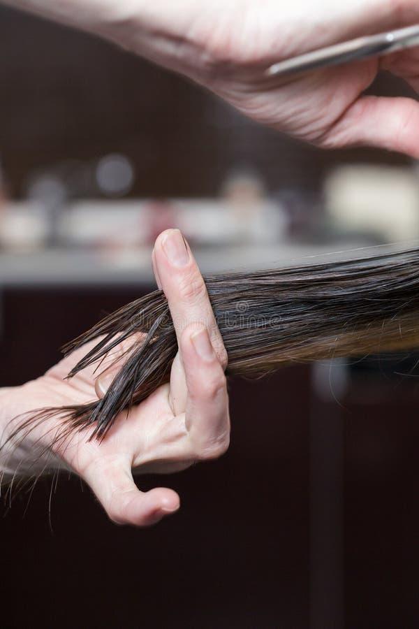 Um cabeleireiro que faz o corte de cabelo para um cliente fêmea moreno foto de stock
