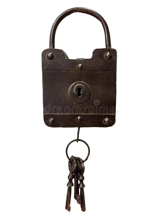 Um cadeado e chaves do ferro imagens de stock royalty free