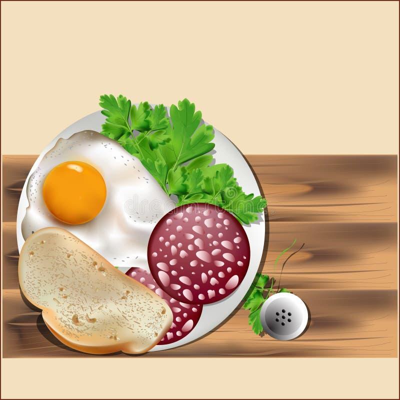 Um café da manhã do ovo, do pão e das salsichas ilustração do vetor