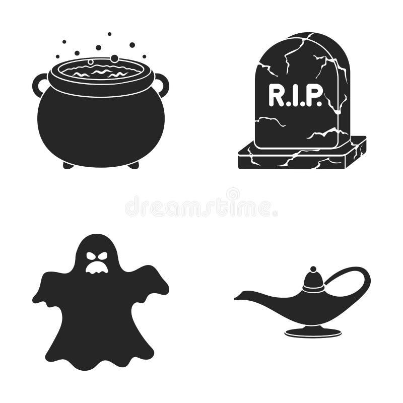 Um caldeirão do ` s da bruxa, uma lápide, um fantasma, uma lâmpada da gim Ícones ajustados da coleção da mágica preto e branco no ilustração stock