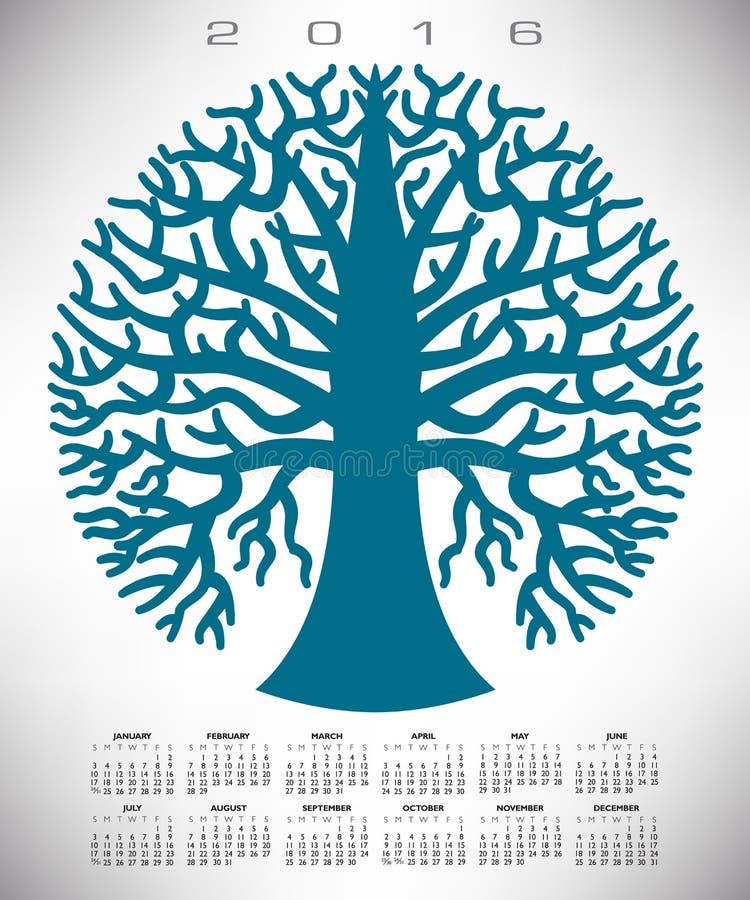Um calendário azul redondo da árvore 2016 ilustração stock